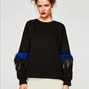🔥HOT ITEM🔥Zara Blue Feather Sweatshirt!